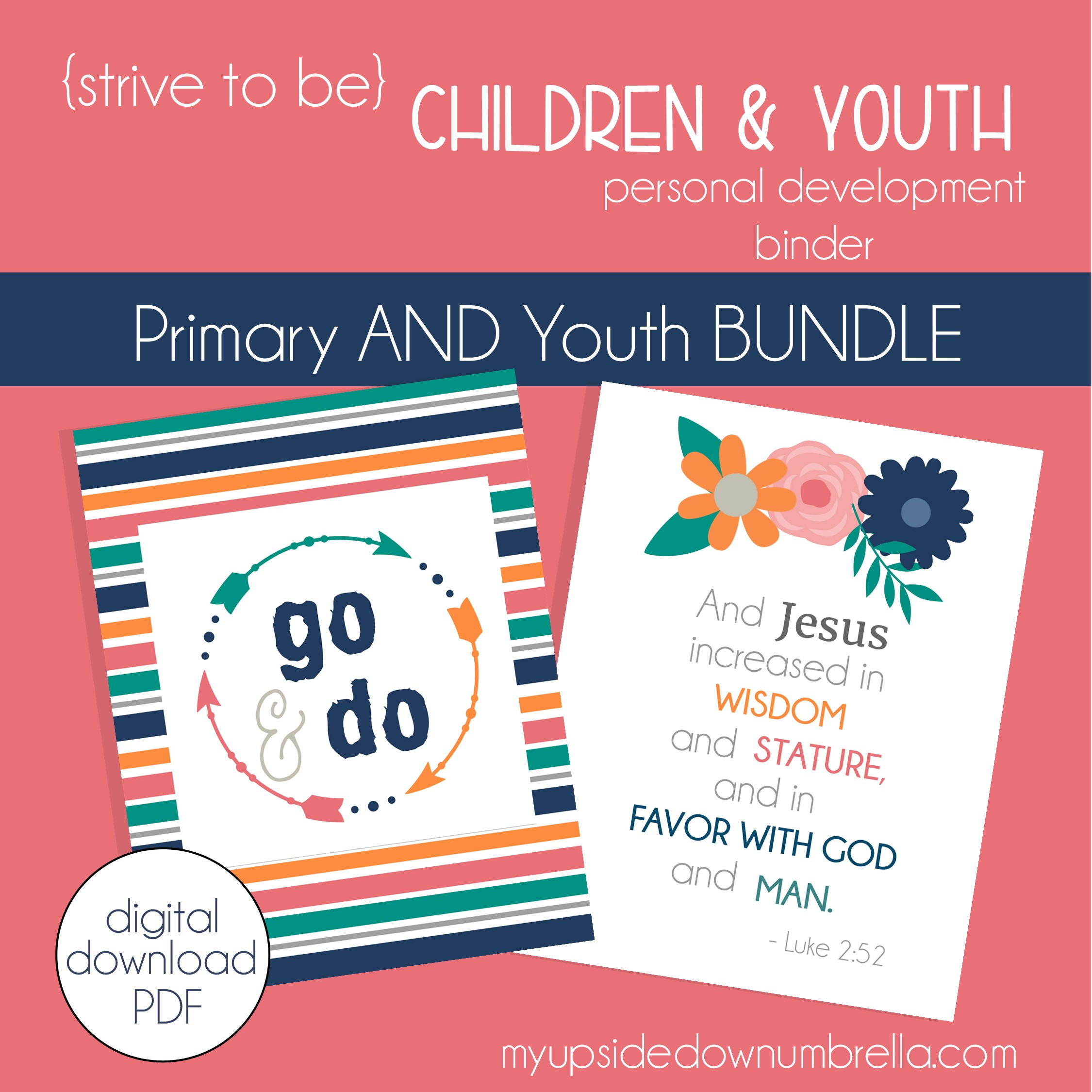children and youth lds goal setting program, workbook and journal, bundle pack