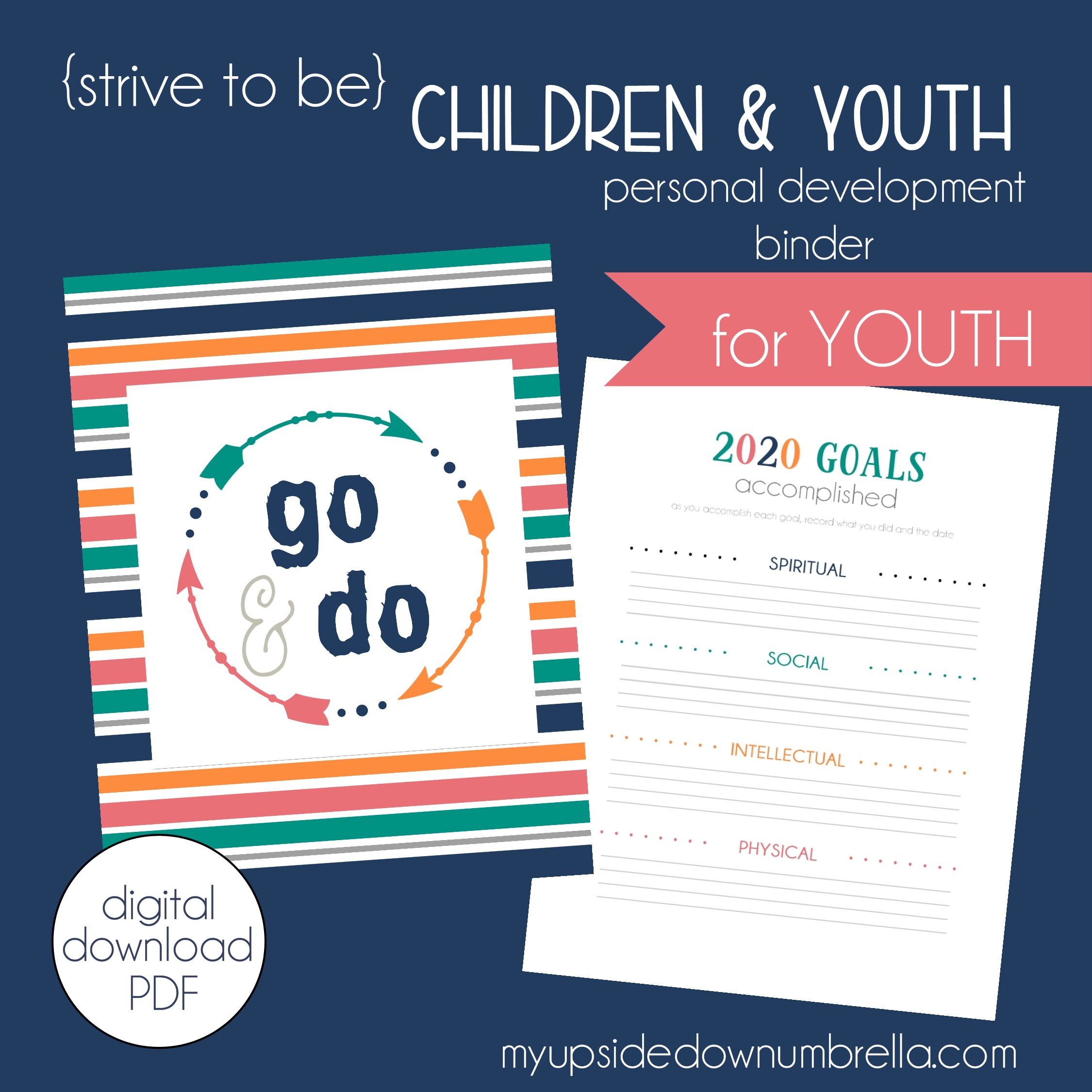 lds goal setting binder for youth strive to be program