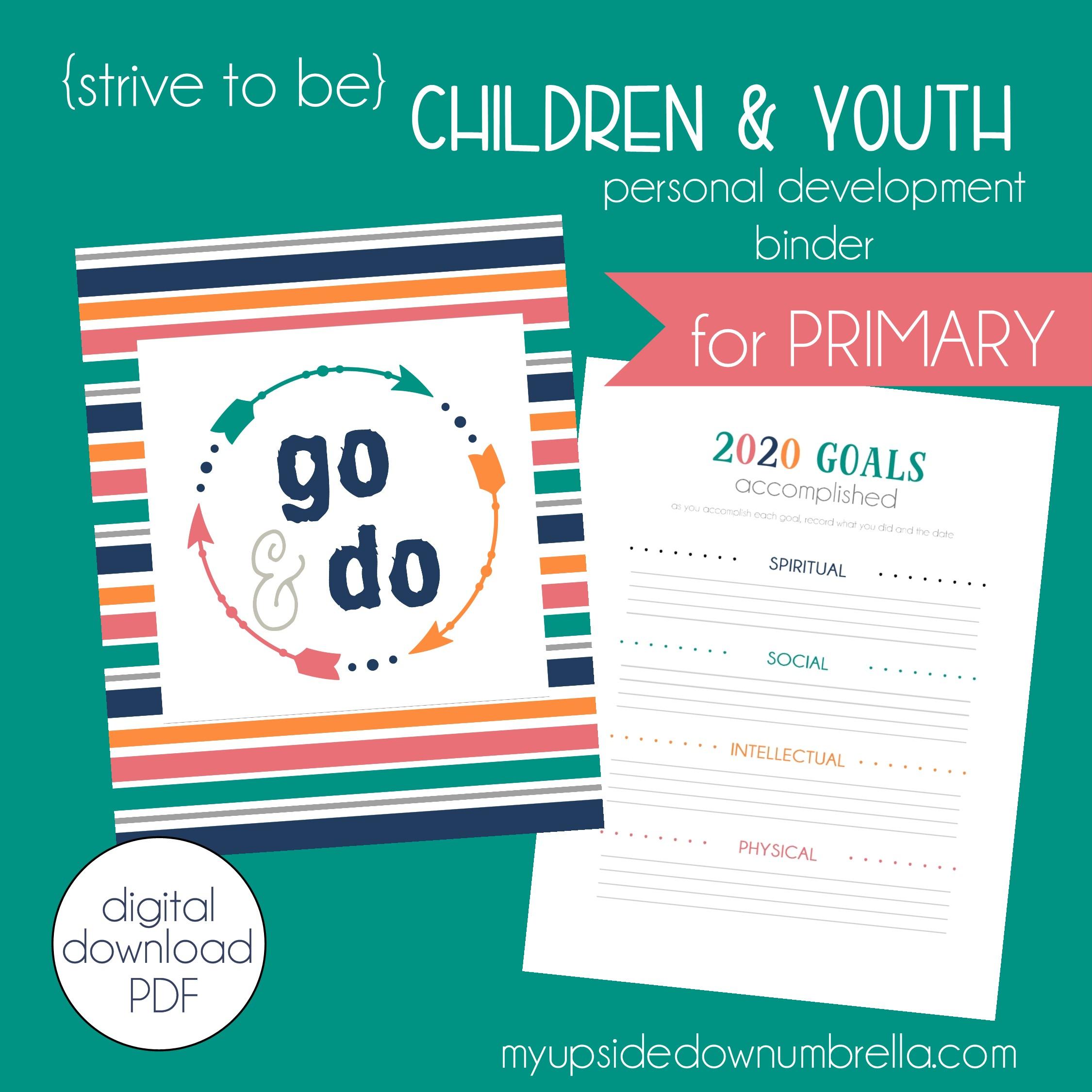 children and youth journal for lds goal setting program primary children