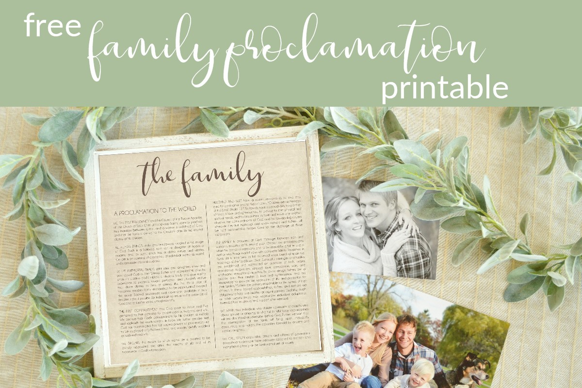 family proclamation free printable