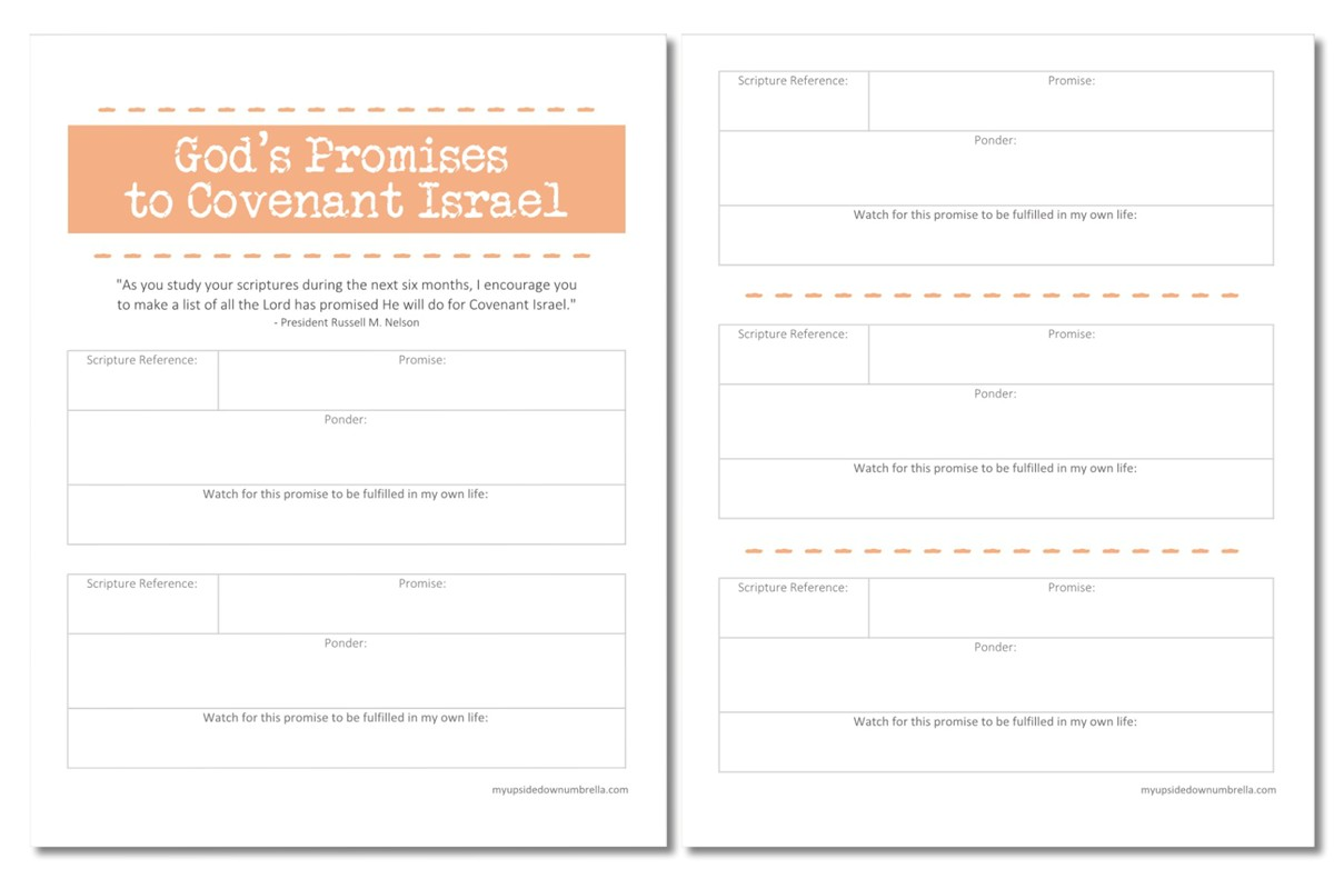 free printable list of god's promises to covenant israel
