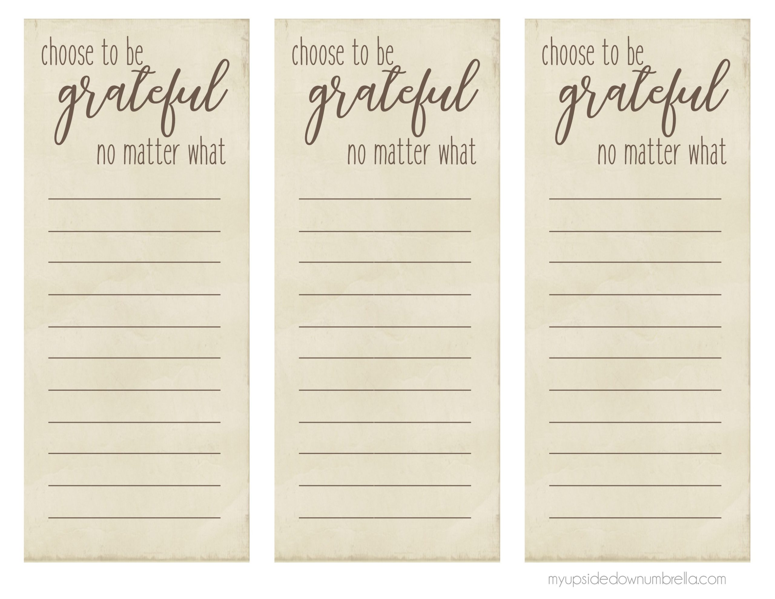 choose to be grateful thanksgiving list
