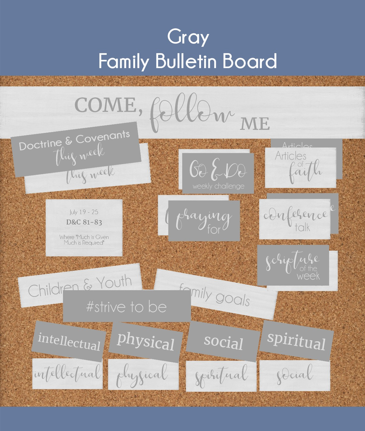 come follow me bulletin board for families, children and youth program
