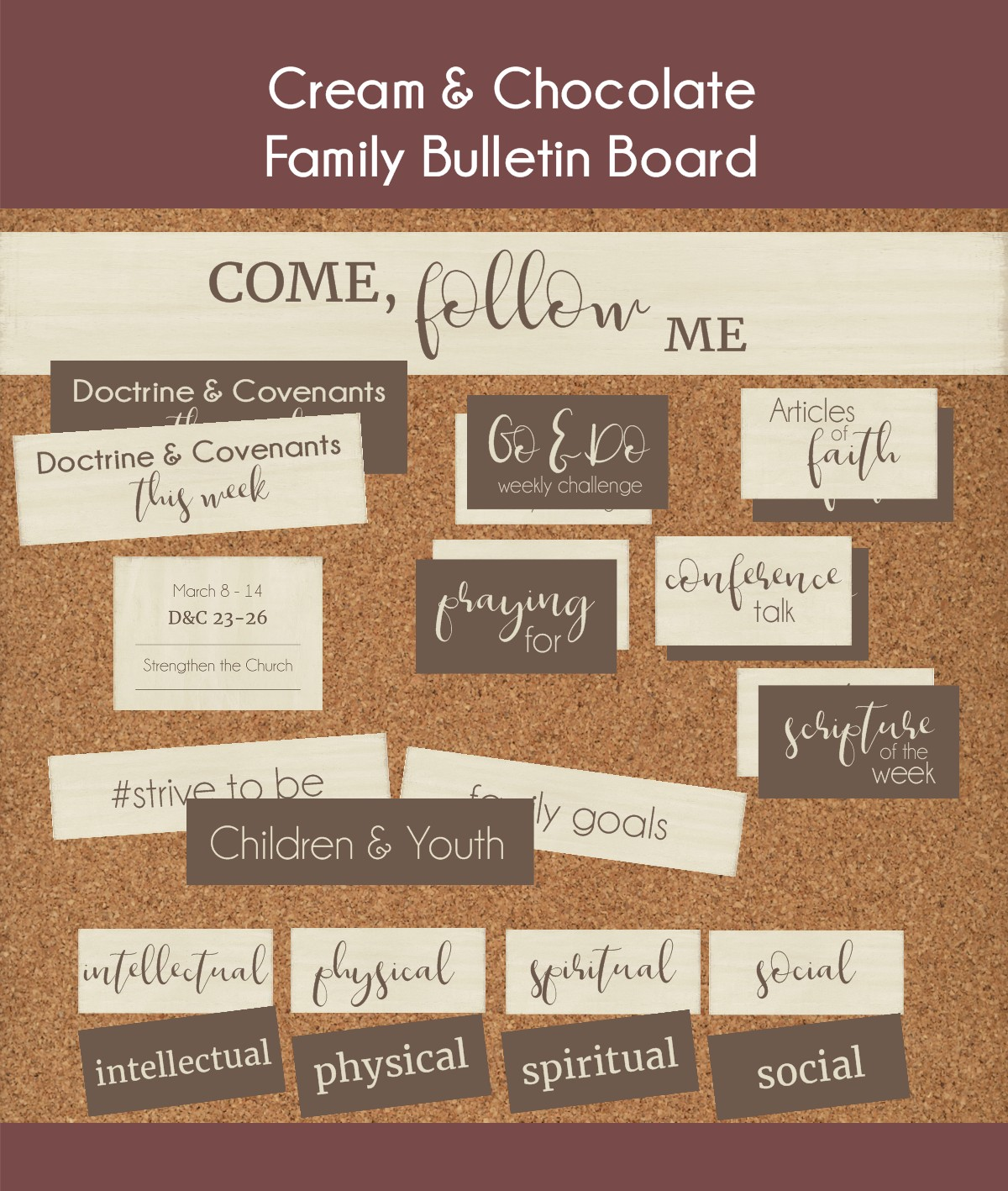 children and youth cart with come follow me bulletin board