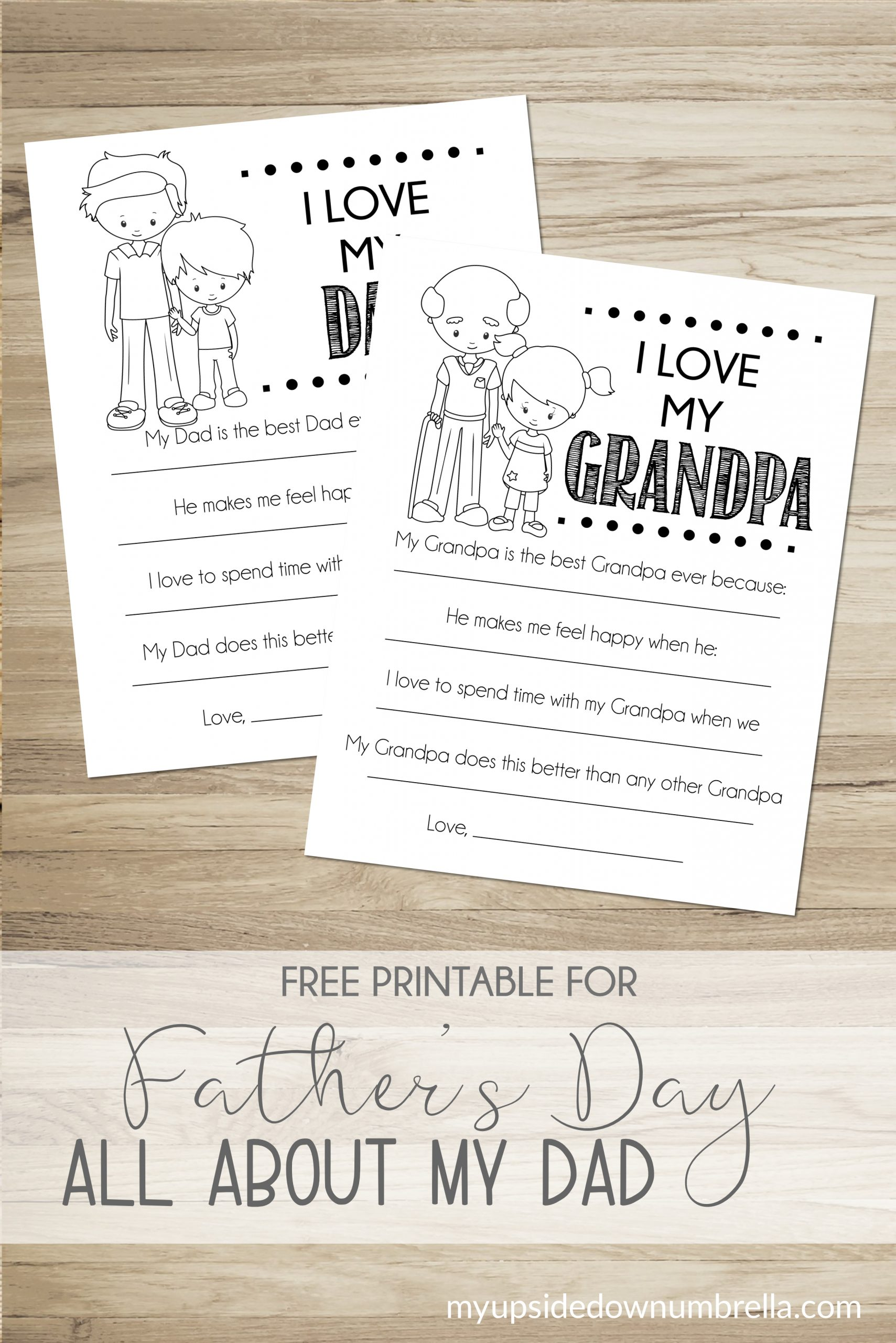 all about my dad, I love my grandpa fathers day free printable