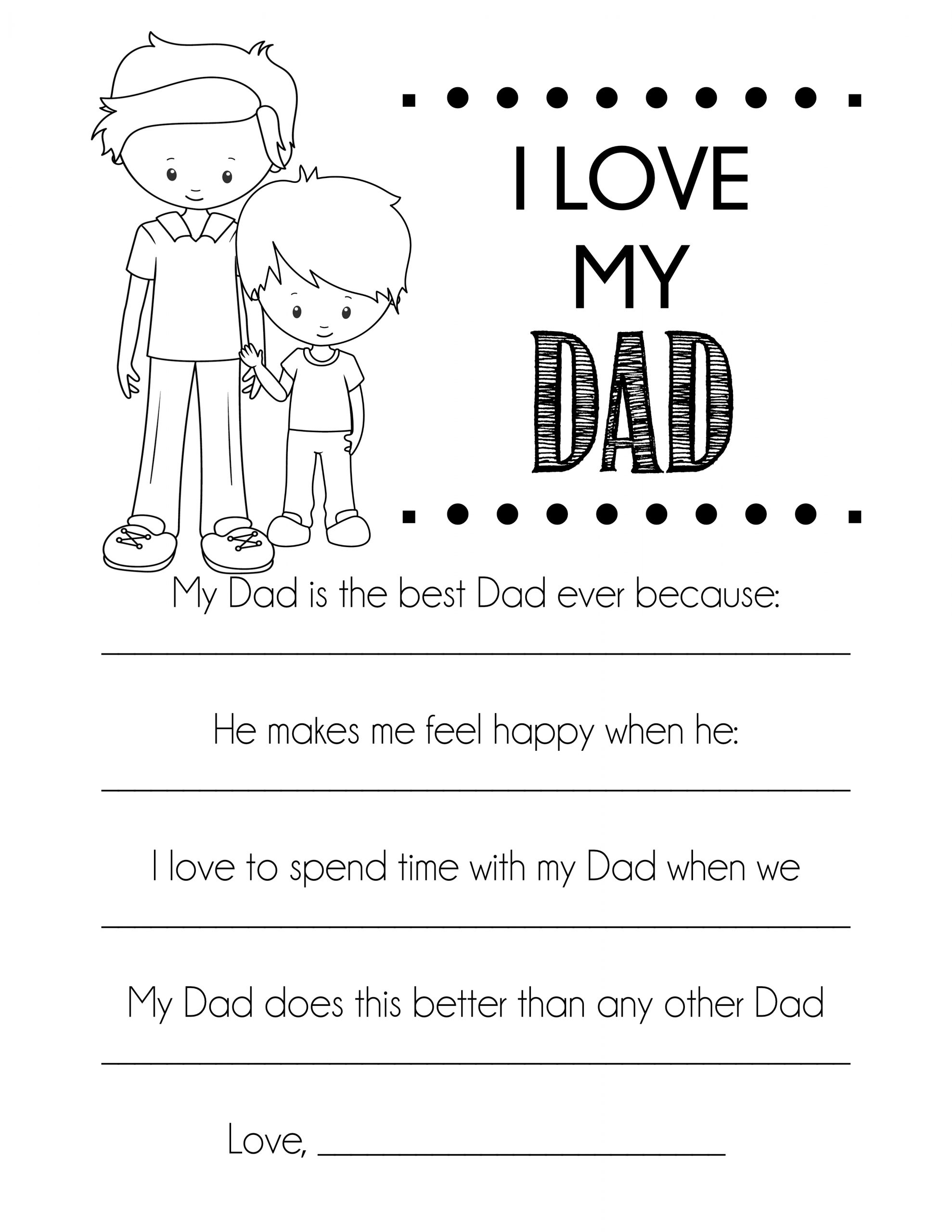 free printable fathers day card all about my dad coloring page