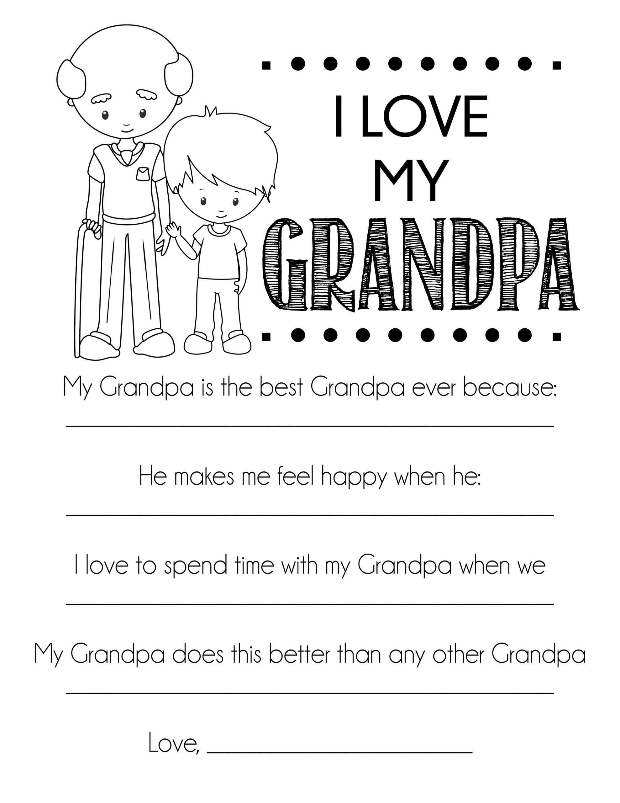 i love my grandpa free fathers day printable from grandson